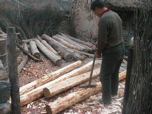 作業中の村人