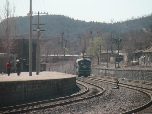 周口店遺跡前の線路
