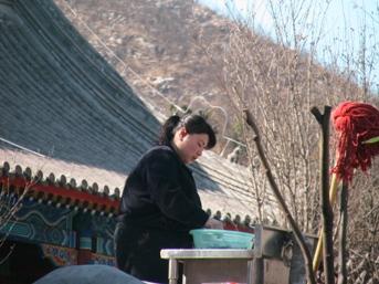 お寺で働く女の子