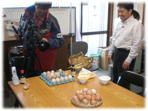 卵かけご飯の撮影中