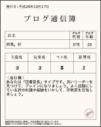 抄ブログ通信簿H20.10.17