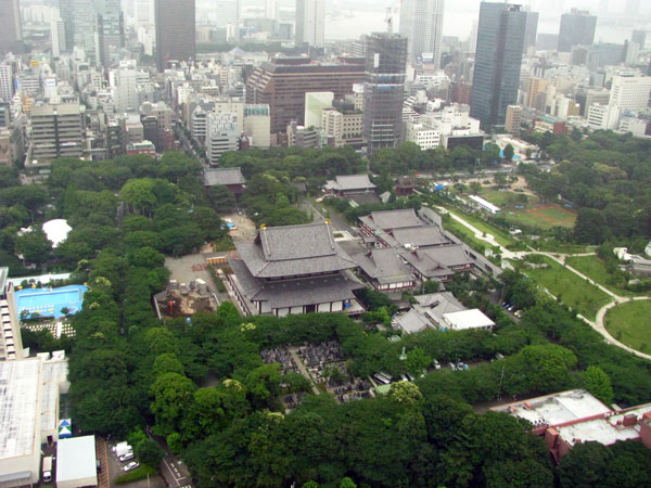 東京タワー展望台から見る増上寺と芝公園