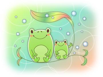 カエルの親子イラスト梅雨バージョン Aquas Wind 楽天ブログ