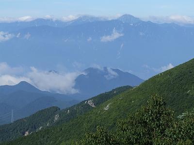 朝日岳からの南アルプス