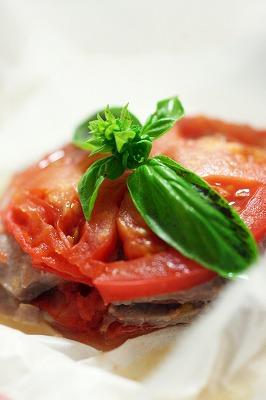 塩豚とトマトのミルフィーユ蒸し