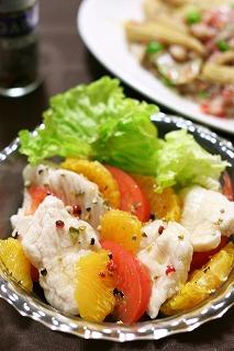 つるるんささみと伊予柑のサラダ