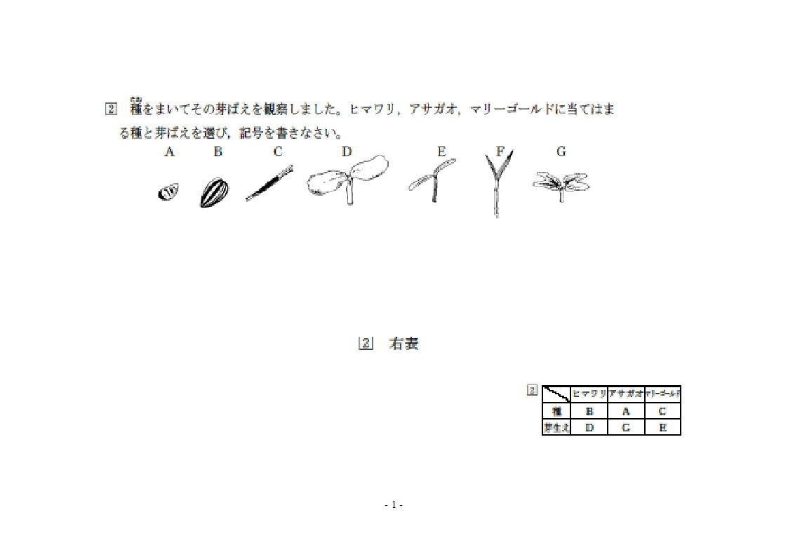 マリーゴールド 日本女子大付属中では、上記の様な形で出題されています。 ... 日本女子大付属中