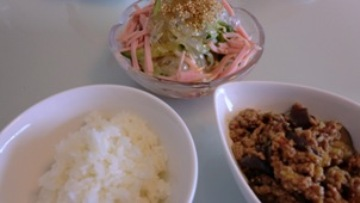 麻婆ナス、春雨サラダ、ご飯