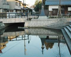復元された福井城の外堀