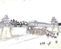 幕末に描かれた福井城の御本城橋