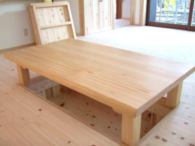 桧の堀座卓