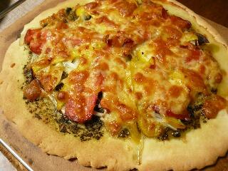 スモークサーモンのピザ
