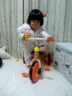 ミッフィの三輪車。