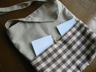 ハンドメイド ショルダーバッグ ブロックチェック ポケット