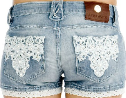 Pearl & Lace Hot Pants in Denim Blue