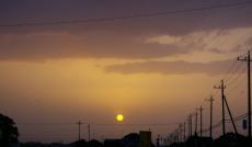 帰路の夕陽