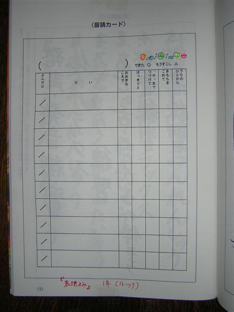 音読宿題1年生