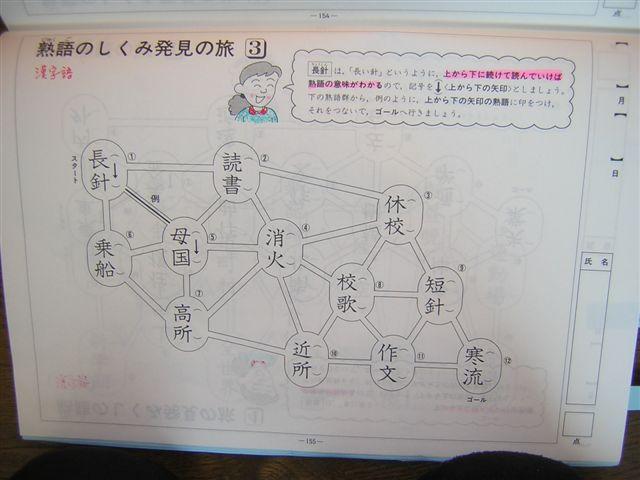漢字語長針(上から下へ)