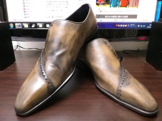 靴磨き、鏡面磨き、ピカピカ靴磨き、パティーヌ、染め替え2