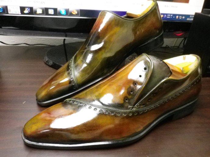 靴磨き、鏡面磨き、ピカピカ靴磨き、パティーヌ、染め替え6