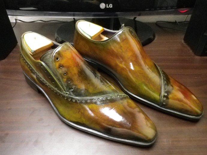 靴磨き、鏡面磨き、ピカピカ靴磨き、パティーヌ、染め替え8