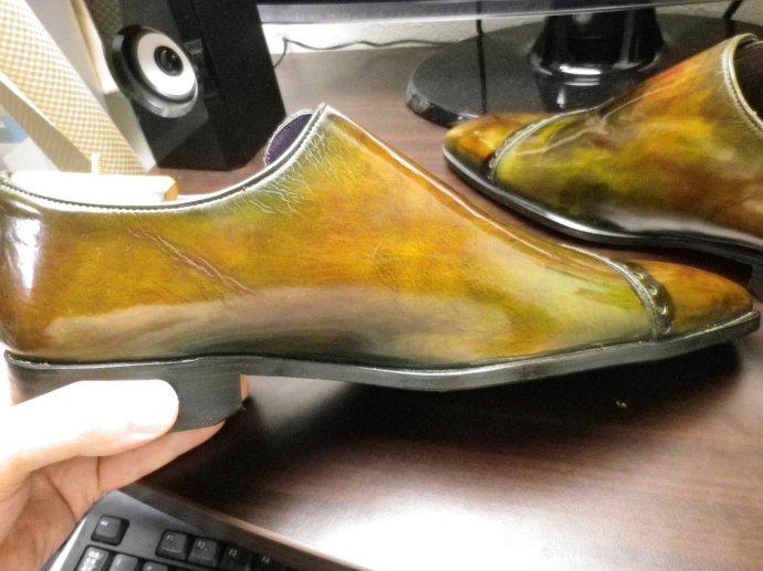 靴磨き、鏡面磨き、ピカピカ靴磨き、パティーヌ、染め替え9