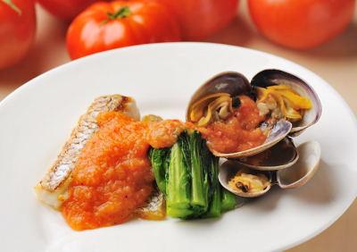 白身魚とあさり菜の花添え
