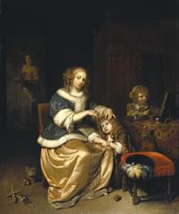 子供の髪を梳いている母のいる室内.jpg
