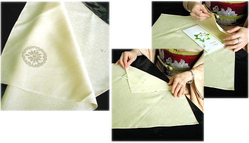 白生地の伊と幸の絹ふくさに摺り紋入り