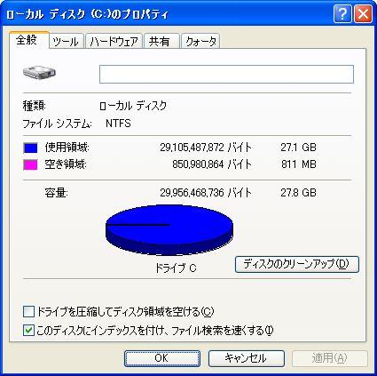 ハードディスク残量