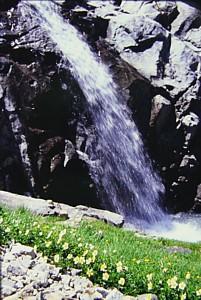 雪渓末端の滝