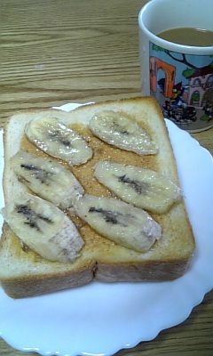 バナナ&ピーナッツバタートースト