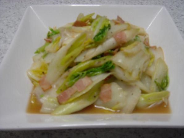 「白菜と深ねぎのオリーブオイル炒め」