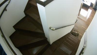 階段手すり追加(踊り場から)