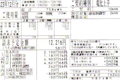 2011年12月分の電気料金明細