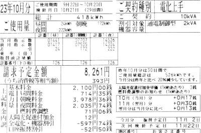 2011年10月分の電気料金明細