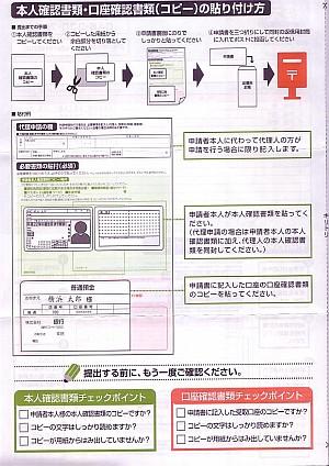 横浜市の定額給付金申請書の説明