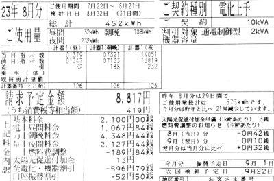 2011年8月分の電気料金明細