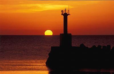 防波堤 夕陽