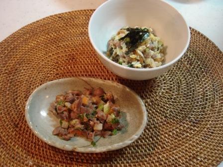 砂肝とセロリのソテー&納豆チャーハン