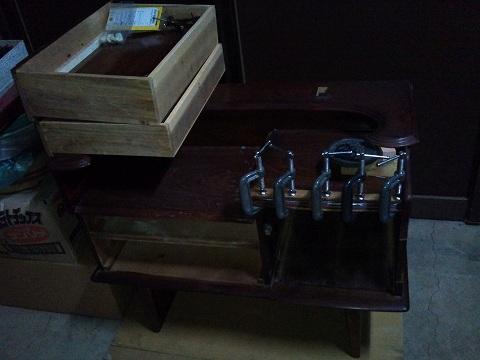 2012.01の画像01.12鏡台修理(机天板)