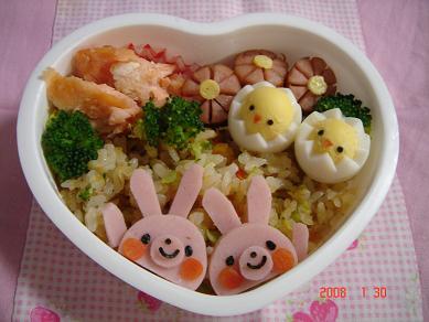 うさぎさんの鮭炒飯弁当 ☆園児のお弁当☆