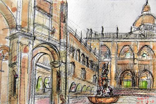 Santiago de Compostela Cathedral-center(South)_Plaza de las Platerias ,Spain