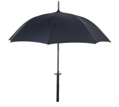 KIKKERLAND サムライアンブレラ 日本刀風侍雨傘 ブラック ストラップ付(専用巾着袋入り)   こりゃ売れるわ!