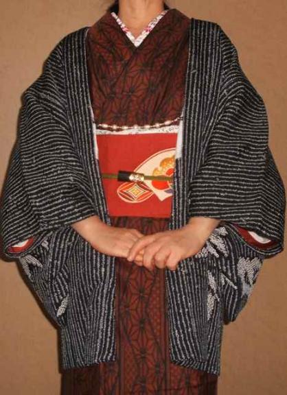 大島と絞りの羽織