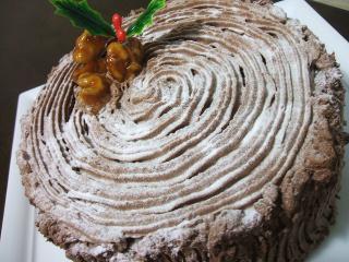 クルミとチョコの切り株ケーキ♪