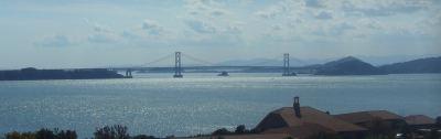 うめ丸から鳴門海峡(大鳴門橋)を一望