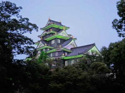 夕暮れ時の岡山城