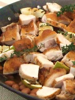 チキンと豆