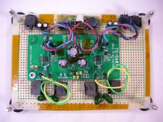 クリックで拡大 TPA2001D1 1Wx2 ステレオ・デジタル・オーディオアンプ・キット - 入出力・電源は差し替え可能なように親子基板にして実験